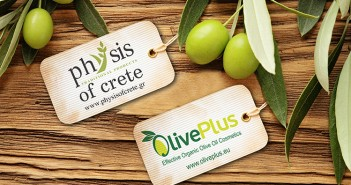 Olives over wooden background and olive oil label